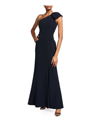 Aidan Mattox Beaded Bow One-Shoulder Crepe Gown