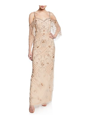 Aidan Mattox Beaded Sweetheart Cold-Shoulder Capelet-Sleeve Gown