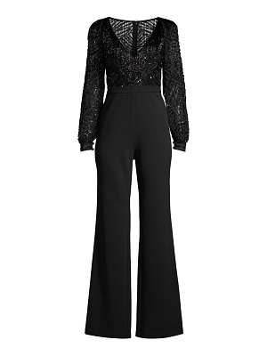 Aidan Mattox beaded v-neck jumpsuit