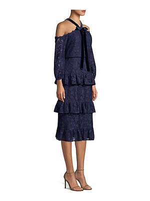Aidan Mattox cold shouldered tiered lace dress