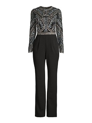Aidan Mattox embellished-bodice long-sleeve jumpsuit