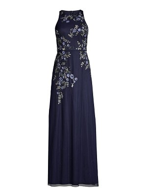 Aidan Mattox embroidered floral column gown
