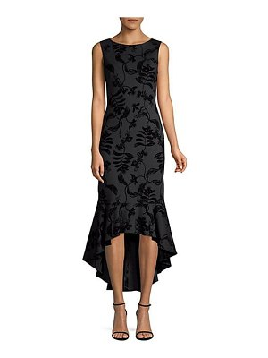 Aidan Mattox floral jacquard sleeveless high-low midi dress