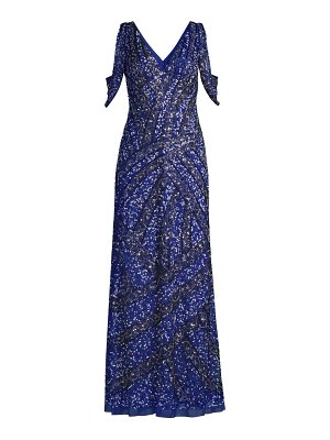 Aidan Mattox fully beaded cold-shoulder gown