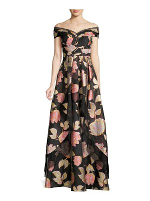 Aidan Mattox Off-The-Shoulder Floral Ball Gown