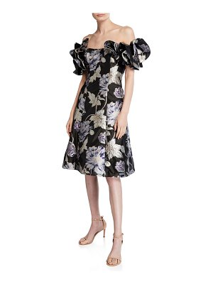 Aidan Mattox Off-the-Shoulder Floral Jacquard Ruffle-Sleeve Cocktail Dress