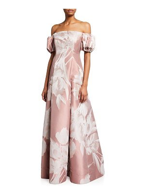 Aidan Mattox Off-the-Shoulder Gathered Sleeve Floral Jacquard Gown