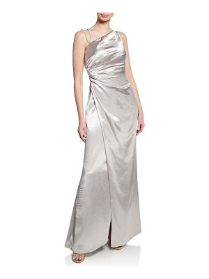 Aidan Mattox One-Shoulder Asymmetric Satin Gown with Slit