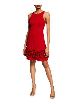 Aidan Mattox Sleeveless Crepe Cocktail Dress with Ruffle Trim