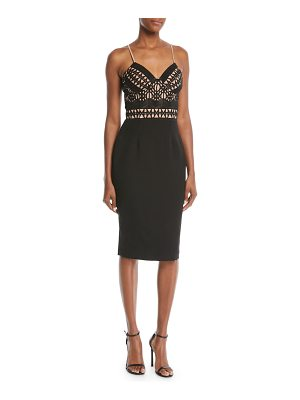 aijek Embellished Crisscross Sleeveless Cocktail Dress