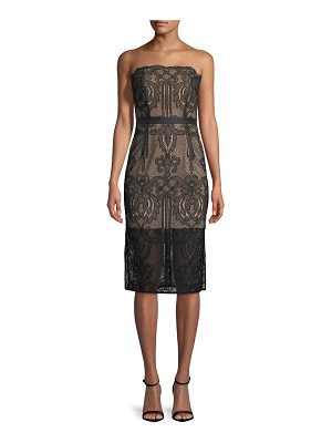 aijek Strapless Lace Appliqué Cocktail Dress