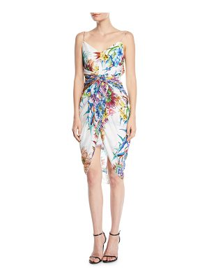 aijek Twisted Tank Dress in Floral-Print Silk