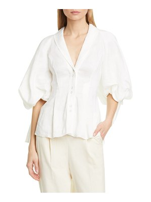 Aje allegro circle back high/low linen & silk blouse