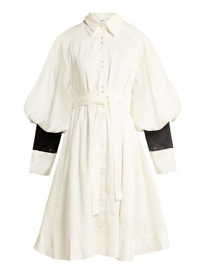 Aje bligh balloon sleeve linen blend shirtdress