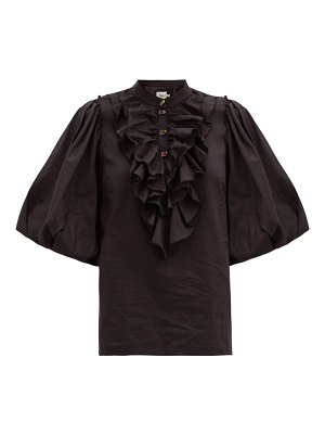 Aje psychedelia ruffled cotton-blend blouse