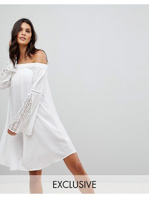Akasa Crochet Trim Fluted Sleeve Off Beach Dress