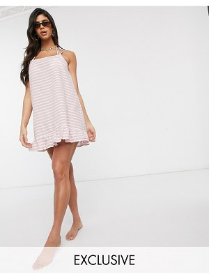 Akasa exclusive mini beach dress with ruffle hem in rust stripe-multi