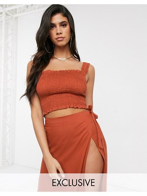 Akasa exclusive ruched beach top in rust-red
