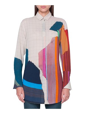 Akris Abstract-Print Button-Front Tunic