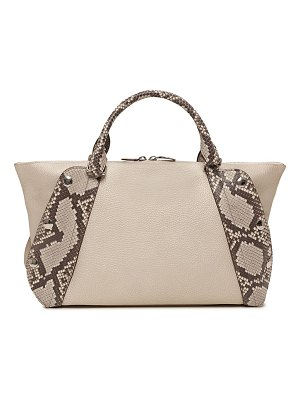 Akris Aimee Small Bicolor Leather & Python Satchel Bag
