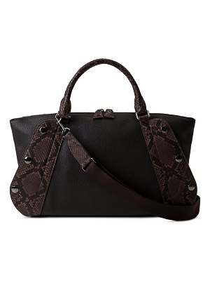 Akris Aimee Small Bicolor Leather/Python Satchel Bag