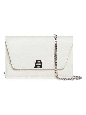Akris anouk flower embossed leather envelope bag