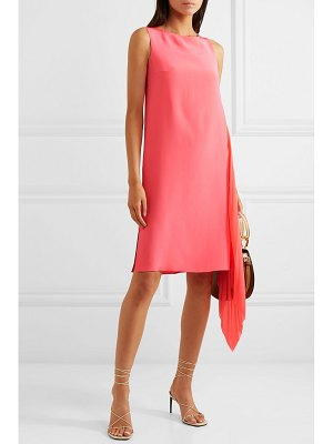 Akris asymmetric mulberry silk crepe de chine and georgette dress