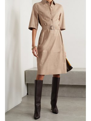 Akris belted paneled leather shirt dress