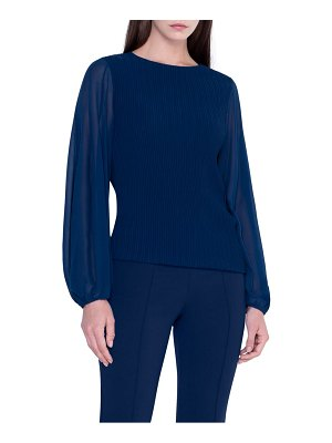 Akris blouson sleeve plisse top