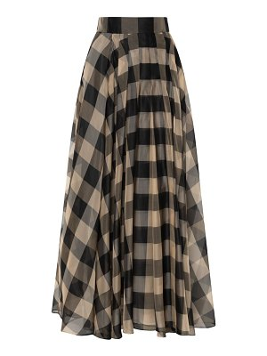 Akris buffalo check pleated silk voile midi skirt