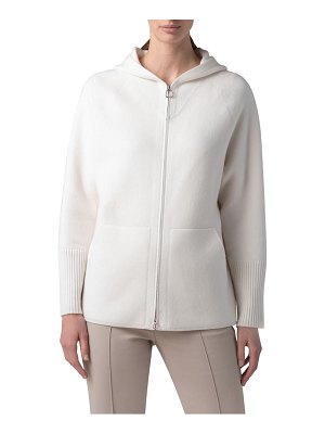 Akris cashmere pique hooded sweater