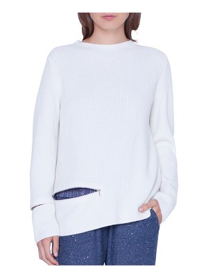 Akris Crewneck Ribbed Cashmere Pullover Sweater