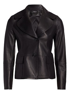 Akris dessa leather wide-lapel jacket