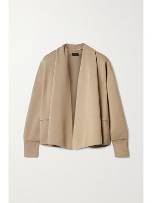 Akris draped wool and mulberry silk-blend cardigan