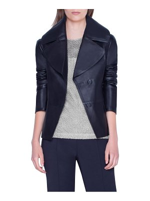 Akris exaggerated lapels leather jacket