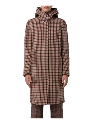 Akris isolde hooded plaid wool coat