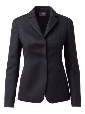 Akris leather-collar cashmere jacket