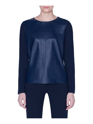 Akris leather front jersey top