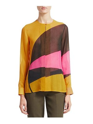 Akris long silk georgette sunrise blouse