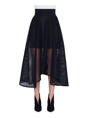 Akris Long Techno Grid A-Line Skirt