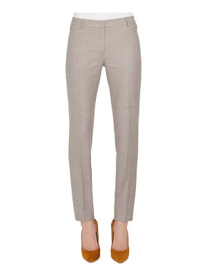 Akris Melvin Slim Straight-Leg Wool Flannel Stretch Pants