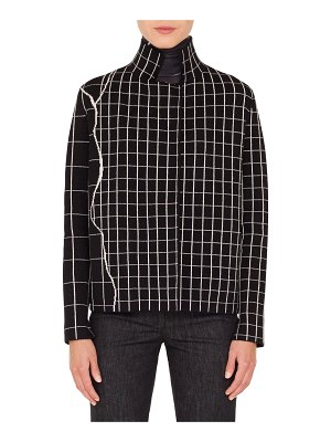 Akris Mock-Neck Marble-Tiles Intarsia Knit Cashmere Jacket