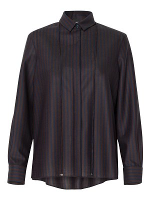 Akris pinstriped stretch wool pleated-back blouse