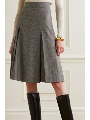 Akris pleated checked wool skirt