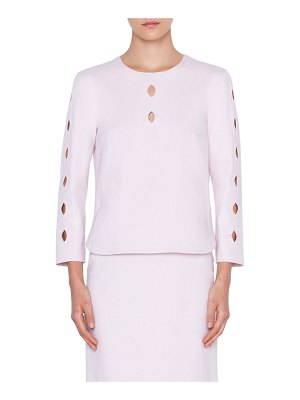 Akris punto 3/4-Sleeve Wave Cutout Jersey Top