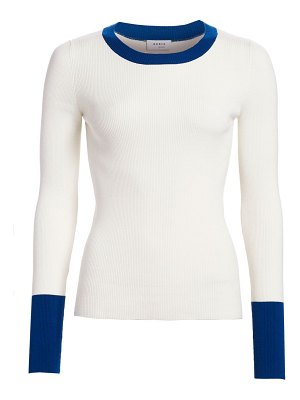 Akris punto bicolor stretch-wool crewneck pullover