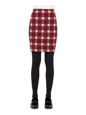 Akris punto Brit-Check Pencil Knee-Length Wool/Cashmere Skirt