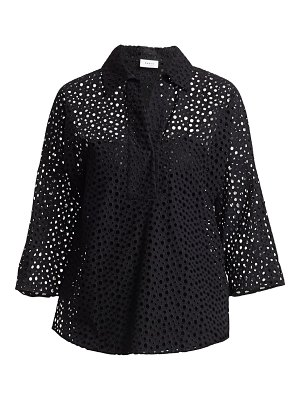 Akris punto broderie anglaise collared blouse