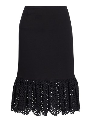 Akris punto broderie anglaise jersey pencil skirt