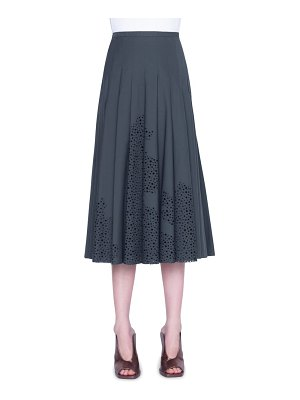 Akris punto broderie anglaise pleated cotton midi skirt
